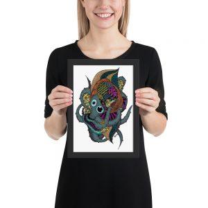 Kraken – Poster en Papier Mat Encadré